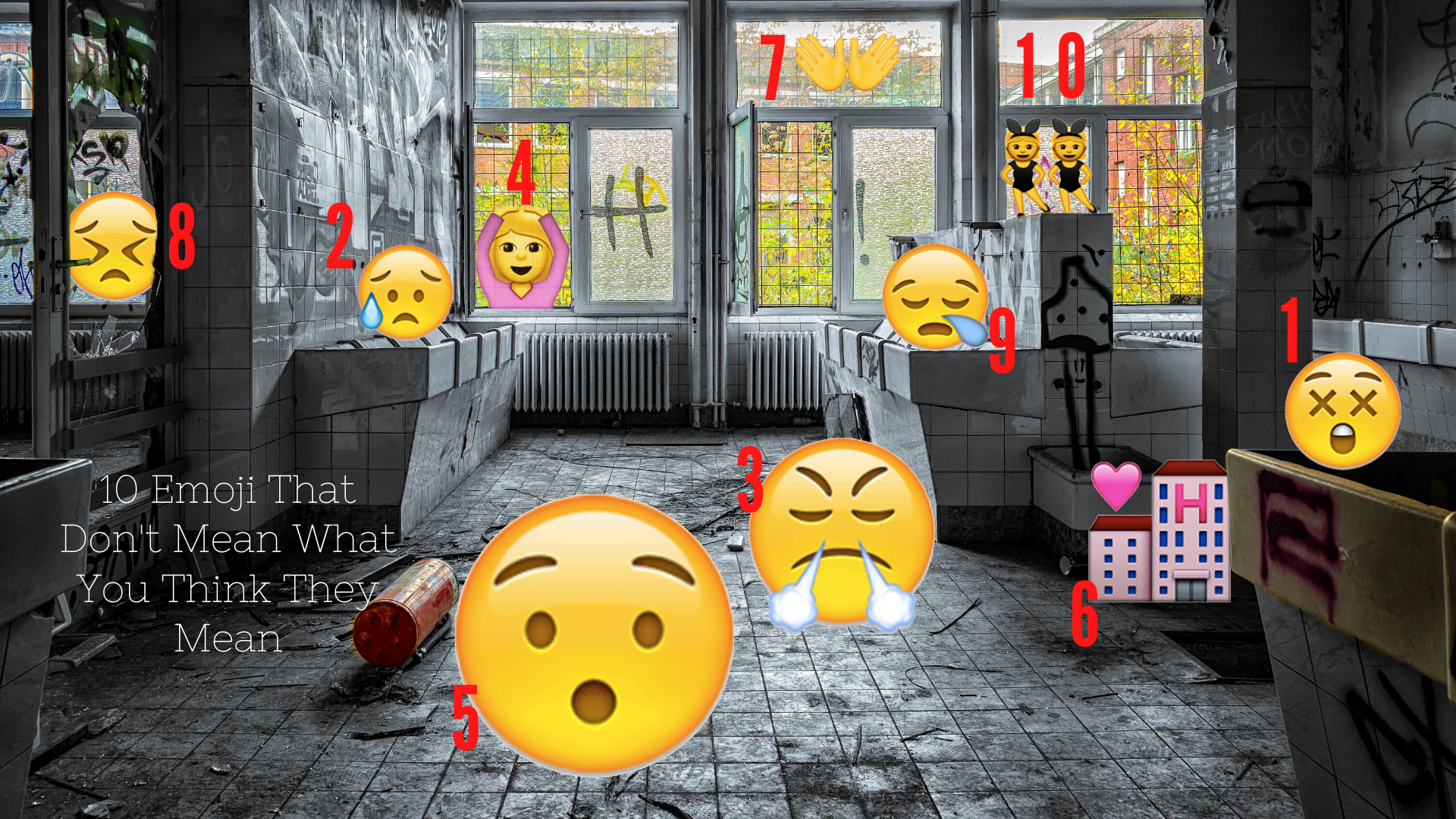 10 Emoji That Don't Mean What You Think They Mean - a selection of widley misunderstood emoji in an abandoned building