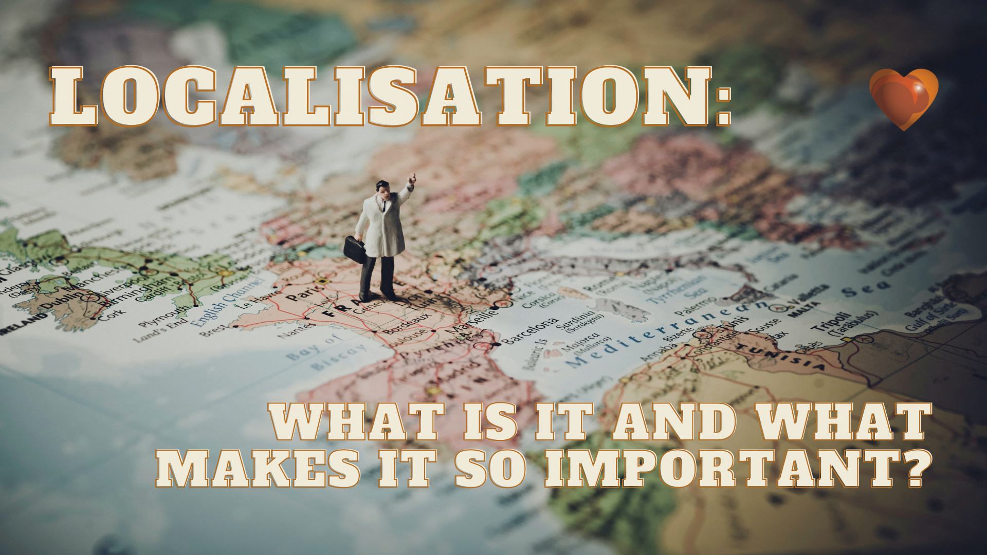 Localisation_ What Is It and What Makes It So Important_Business man standing on a map of Western Europe - looking to sell abroad