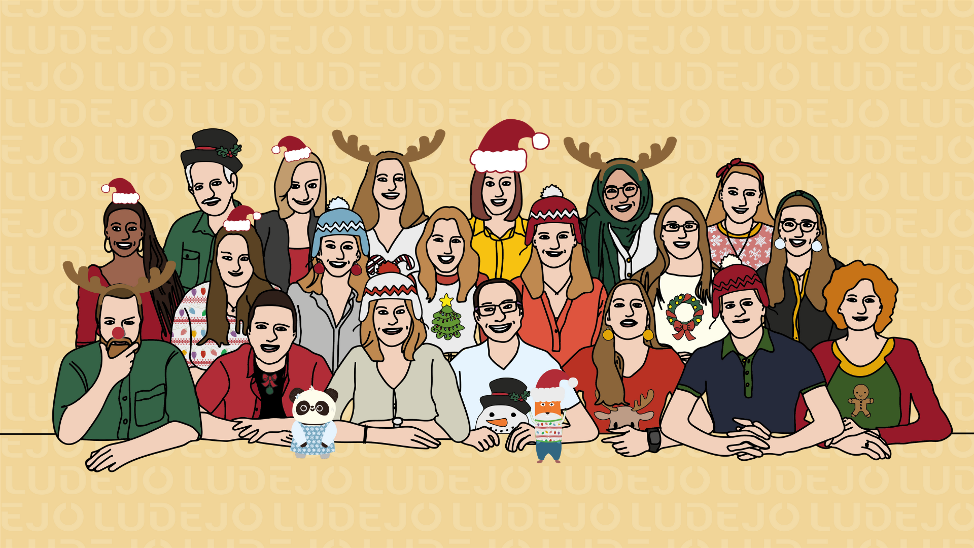 Christmas team image with all members of Ludejo in festive outfits - animated